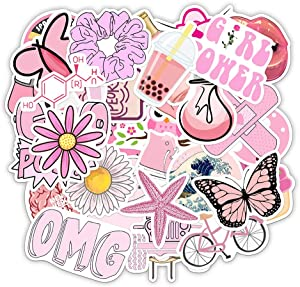 Vinyl Pink Vsco Stickers Laptop Stickers Pack 50 Pcs Cute Aesthetic Decals Water Bottle Laptop Ipad Car Luggage