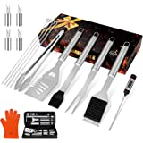 "HOMENOTE Grilling Accessories, 17PCS Grill Tools Set BBQ Tool Kit Stainless Steel Grill Sets, 16"" Spatula Tongs…"