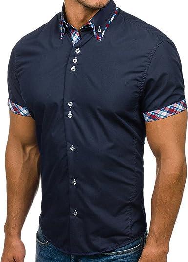 RODMA - Camisa de Rayas para Hombre, de Manga Corta Azul Marino 3XL: Amazon.es: Ropa y accesorios