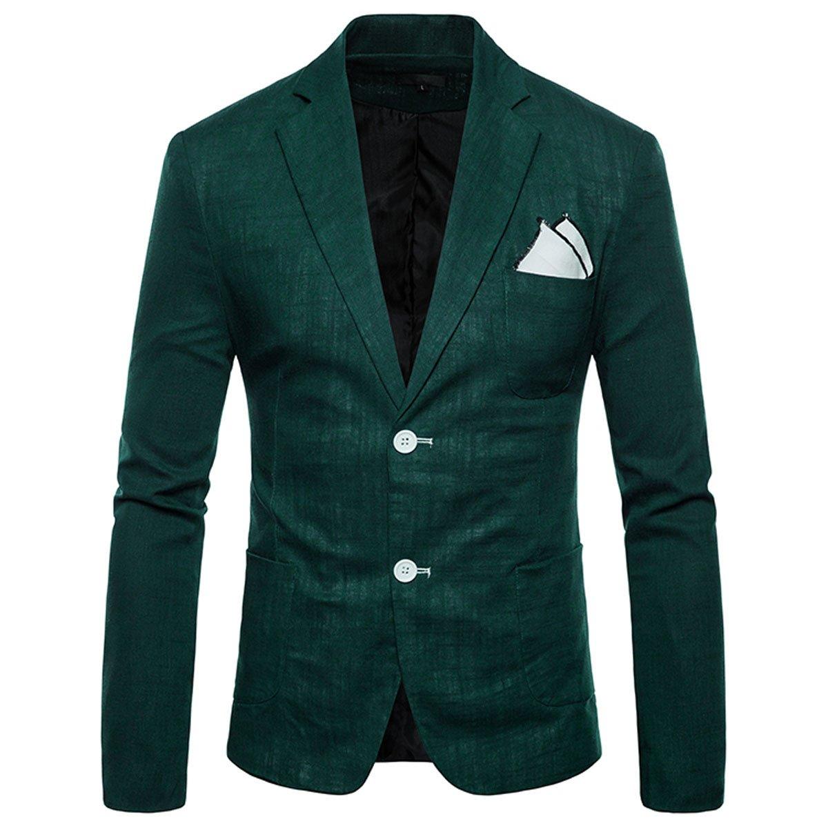 INVACHI Slim Fit Mens Casual Linen Two-Button Blazer Jacket Suit Jacket