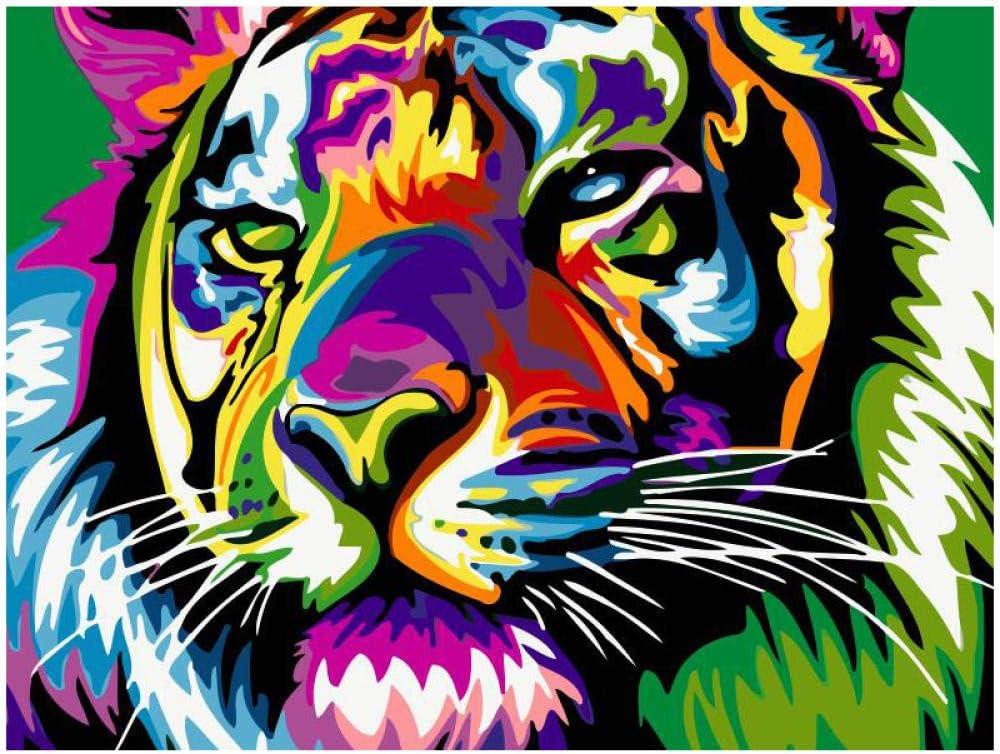 HZWBD Peinture Num/éro Adulte Tigre Noir Et Blanc avec Pinceaux Et Acryliques Bricolage Kits pour Adultes Enfants Seniors D/ébutant pour La D/écoration Int/érieure Maison 40X50Cm sans Cadre