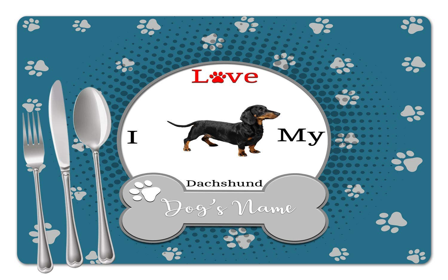 BRGiftShop Personalized Custom Name I Love My Dog Dachshund Set of 4 Table Placemats