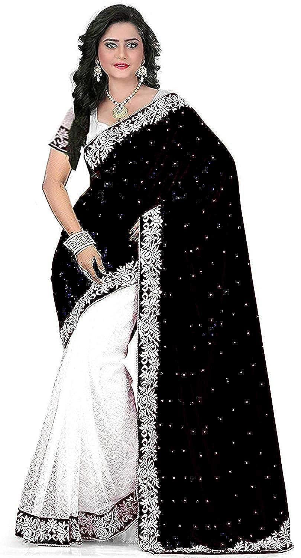 7c8f97acdf7 Market Magic World Women s Cotton Silk Saree with Blouse Piece (Black)   Amazon.in  Clothing   Accessories