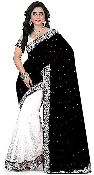 999d14b53bc87a Market Magic World Women s Cotton Silk Saree with Blouse Piece (Black)