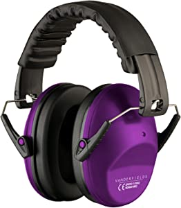 Vanderfields Hearing Protection for Shooting – Compact Foldable Portable Safety Earmuffs for Blocking Ear Sound Reduction - Hunting Range Studying Lawn Mowing - Men Women Adults - Purple