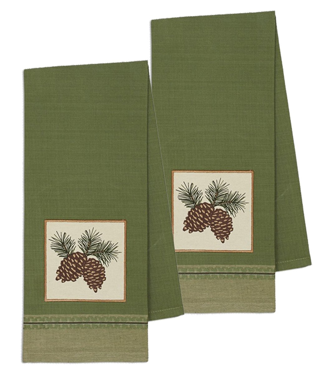 デザインImports Mountain Pineコットンテーブルリネン 18 x 28 - Dishtowel 2-Pack 18 x 28 - Dishtowel 2-Pack Pinecone Sprig Embellished B0792B56D7