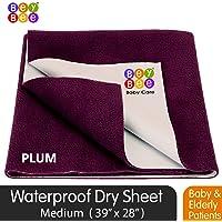 BeyBee Premium Quick Dry Mattress Protector Baby Cot Sheet (Medium, Plum)