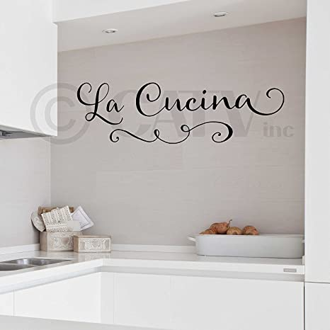 La Cucina (The Kitchen) wall saying vinyl lettering sticker (Black, 9\