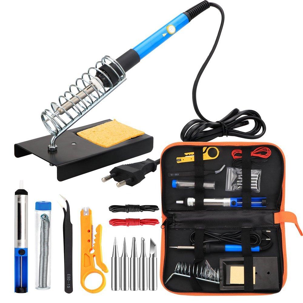 Fer à Souder kit, TengKo Electrique Kit de Soudage avec Sac à Outils Fer à Souder à température Réglable de 60W,5Pcs Conseils de soudage Station de Soudage Pincettes pour Débutant électronique Bricola