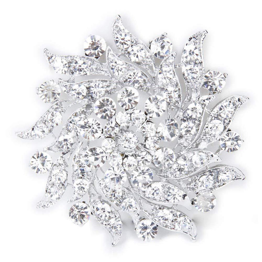 TOPFAY Diamant-Brosche Blumenbrosche in klaren Strass Brust Brosche Hochzeit Blumen Silber Brautstrau/ß