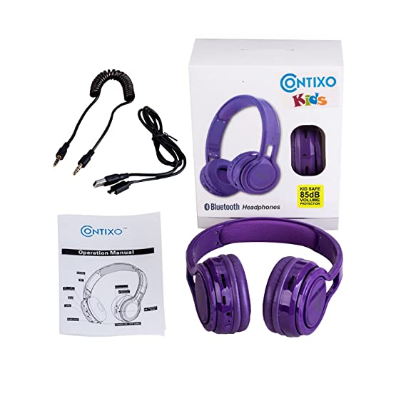Amazon.com: Contixo KB2600 Kid Safe 85db Foldable Wireless Bluetooth Headphone Built-in Microphone, Micro SD card Music Player, FM Stereo Radio (Purple) ...