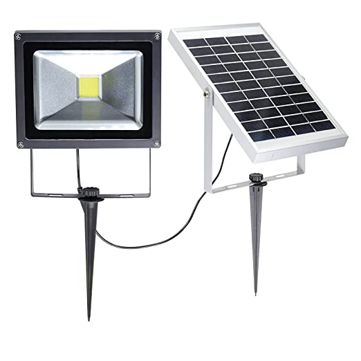 W-LITE 20W LED Solar Flood Lights Outdoor, Waterproof Security Lamp, 6000K, Cool White, Intelligent Wall Lights, 2200mA×4 Battery++, Rechargeable Floodlight