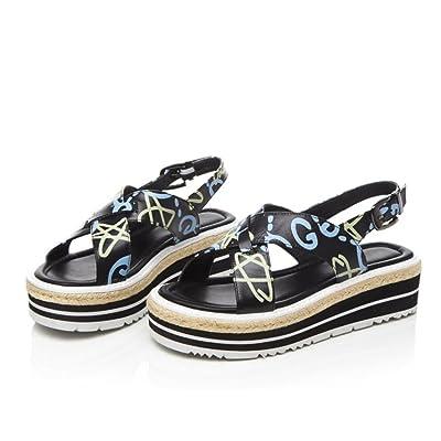 DANDANJIE Femmes Sandales paille été bout rond Wedge Wedge Sandales imprimées en plein air chaussures de mode
