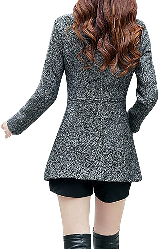 BLady Womens Speckled Knit Diagonal Zip Tailored Adjustable Collar Wool Coat