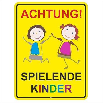 Langsam fahren Schild oder Aufkleber Spielende Kinder 40x40cm Straßenschild