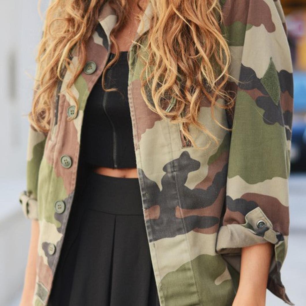 Internet Damen Mantel Camouflage Street Jacke Mantel Mode Beil/äufig Lange /Ärmel Rei/ßverschluss Jacke Mantel Windjacke Mantel Fr/ühling Herbst Stilvoll Bequem Outwear Winter Kurz Mantel