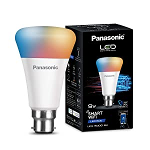 Panasonic WiFi Enabled Smart LED Bulb B22 9-Watt (16 Million Colors + Warm White/Neutral White/White) (Compatible with Amazon Alexa)