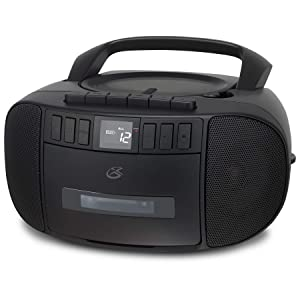 GPX BCA209B Portable Am/FM Boombox with CD and Cassette Player, Black