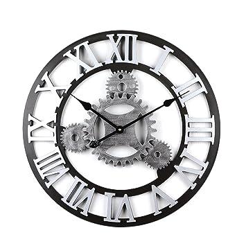 Tosbess 58CM Relojes de Pared Silencioso Grandes Originales de Estilo Vintage para el hogar/la Cocina/la Oficina/la Escuela: Amazon.es: Hogar
