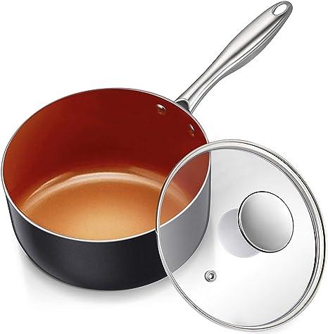 Amazon.com: MICHELANGELO 3 Quart Saucepan with Lid, Ultra Nonstick Coppper  Sauce Pan with Lid, Small Pot with Lid, Ceramic Nonstick Saucepan 3 quart,  Small Sauce Pot, Copper Pot 3 Qt, Ceramic Sauce