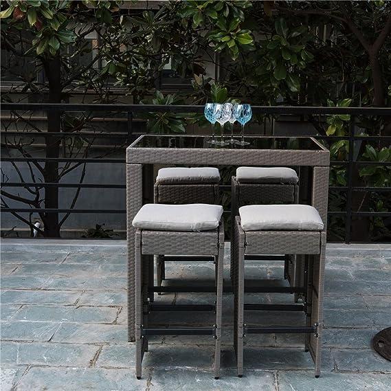 PatioPost aire libre 5 pcs mimbre Patio porches Barra Set: cristal bar y 4 taburetes con cojines: Amazon.es: Jardín