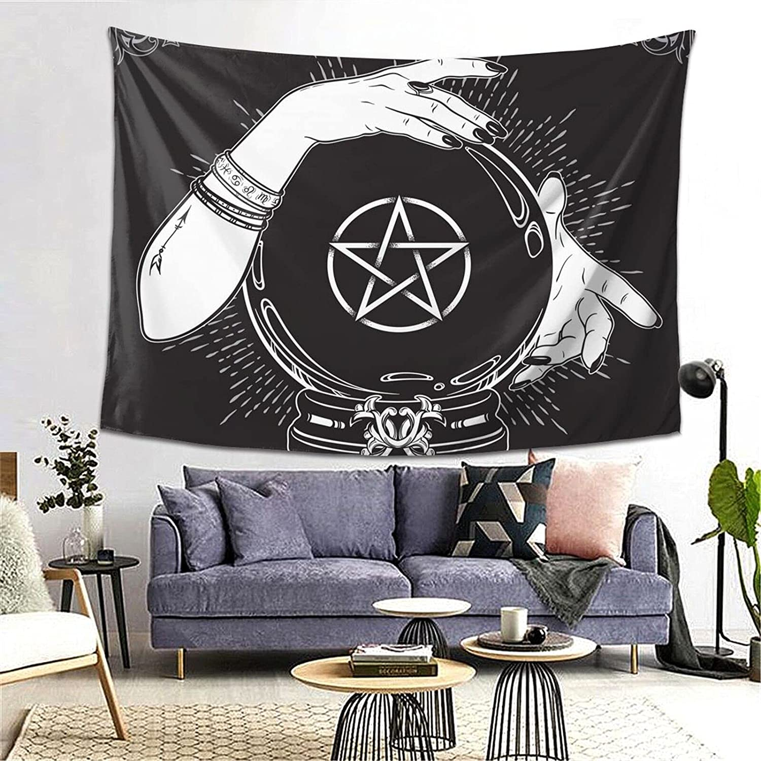 Hand Drawn Magic Crystal Ball Pentagram Star Hands Fortune Teller Tapestry Yoga Tapestries Wall Hanging Home Decoration Bedroom Decor Living Room Door Curtain Balcony Room Divider 80 X 60 Inch