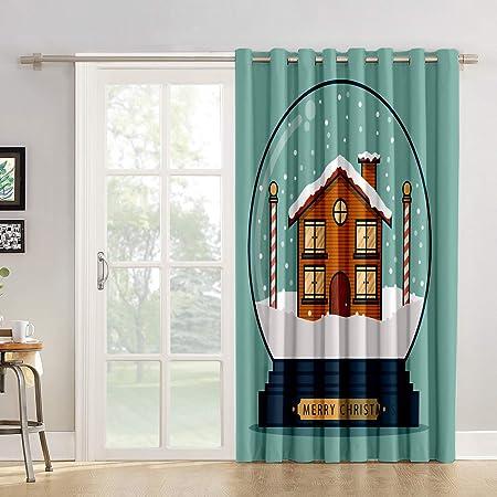 Cortinas de cocina con diseño de ventana para salón, dormitorio, divertidas, para puerta corrediza de cristal o patio: Amazon.es: Hogar