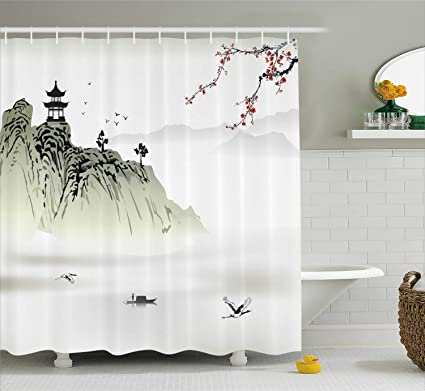 amazon com ambesonne asian decor collection, chinese landscapeambesonne asian decor collection, chinese landscape painting with the temple on the cliff and flying