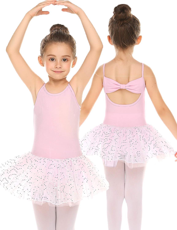 Bricnat Abbigliamento da danza per bambine a maniche lunghe in cotone senza maniche con fiocco