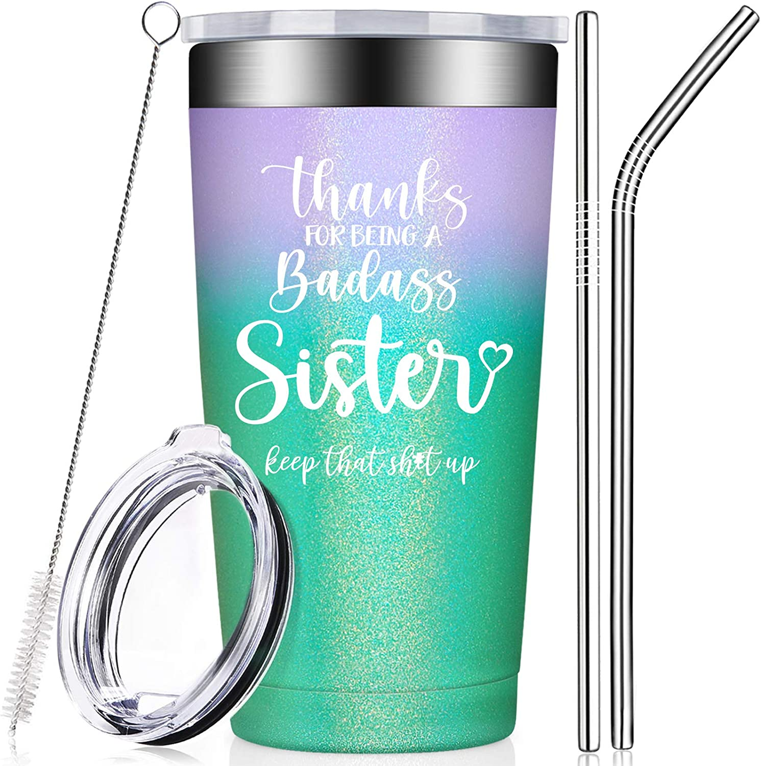 Sister Gifts from Sister, Brother - Sister in Law Gifts - Funny Big Sister Birthday, Thank You, Christmas Gifts for Unbiological, Soul Sister - Tumbler Cup with Lid and Straw