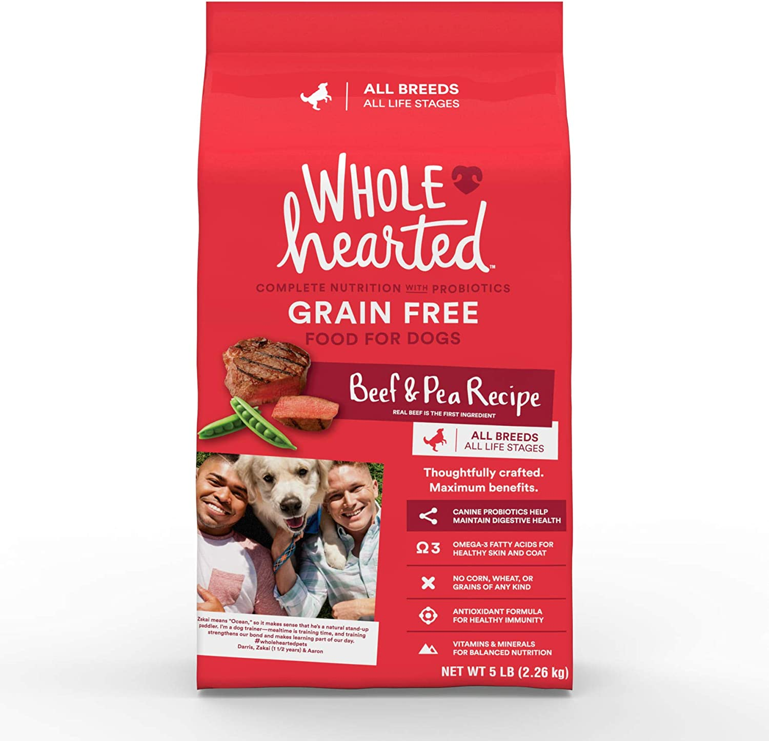 WholeHearted Grain Free All Life Stages Beef & Pea Formula Dry Dog Food, 5 lbs.