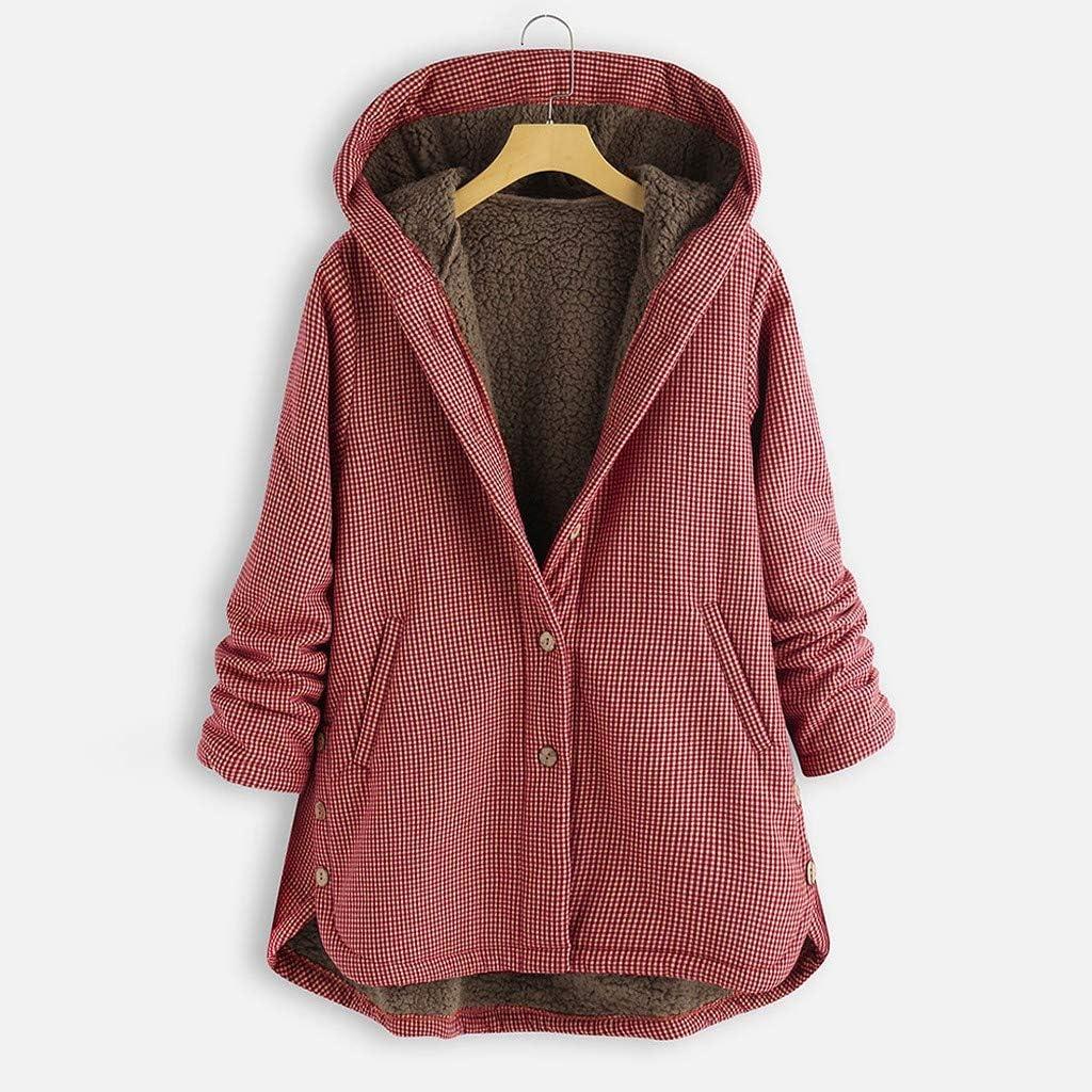 MOMKER Women Plush Jacket Plus Size Winter Warm Coat Plaid Print Asymmetrical Button Hooded Outwearcoat