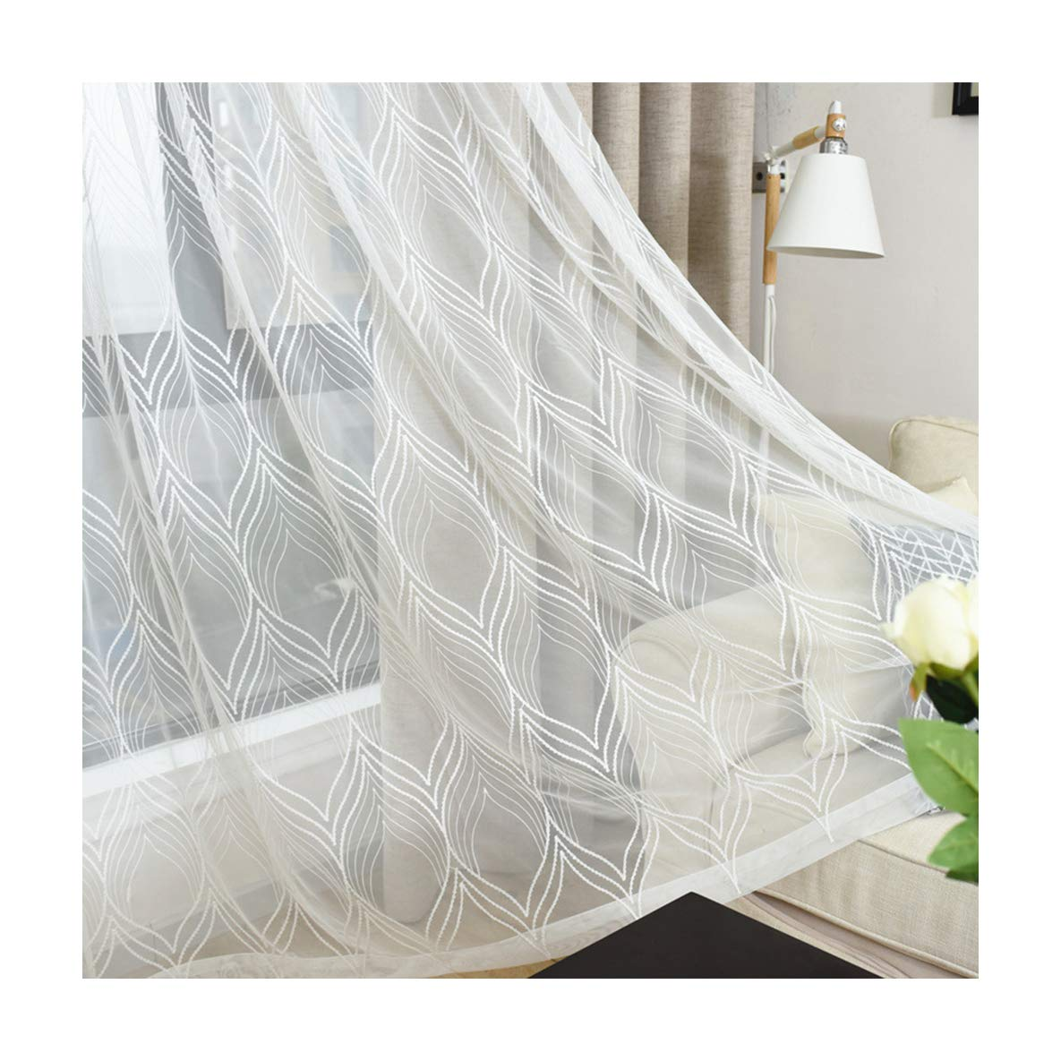 Aside Bside Sheer Curtains Classic Style Rod Pockets Lozenge Wave Knitting Permeable Window Decoration For Kitchen Sitting Room and Houseroom (1 Panel, W 52 x L 95 inch, White)