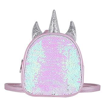 Amazon.com | IEFIEL Gilrs Glittery Sequins Cartoon Theme Backpack Mini Satchel Daypack Travel Shoulder Bag Pink One Size | Kids Backpacks