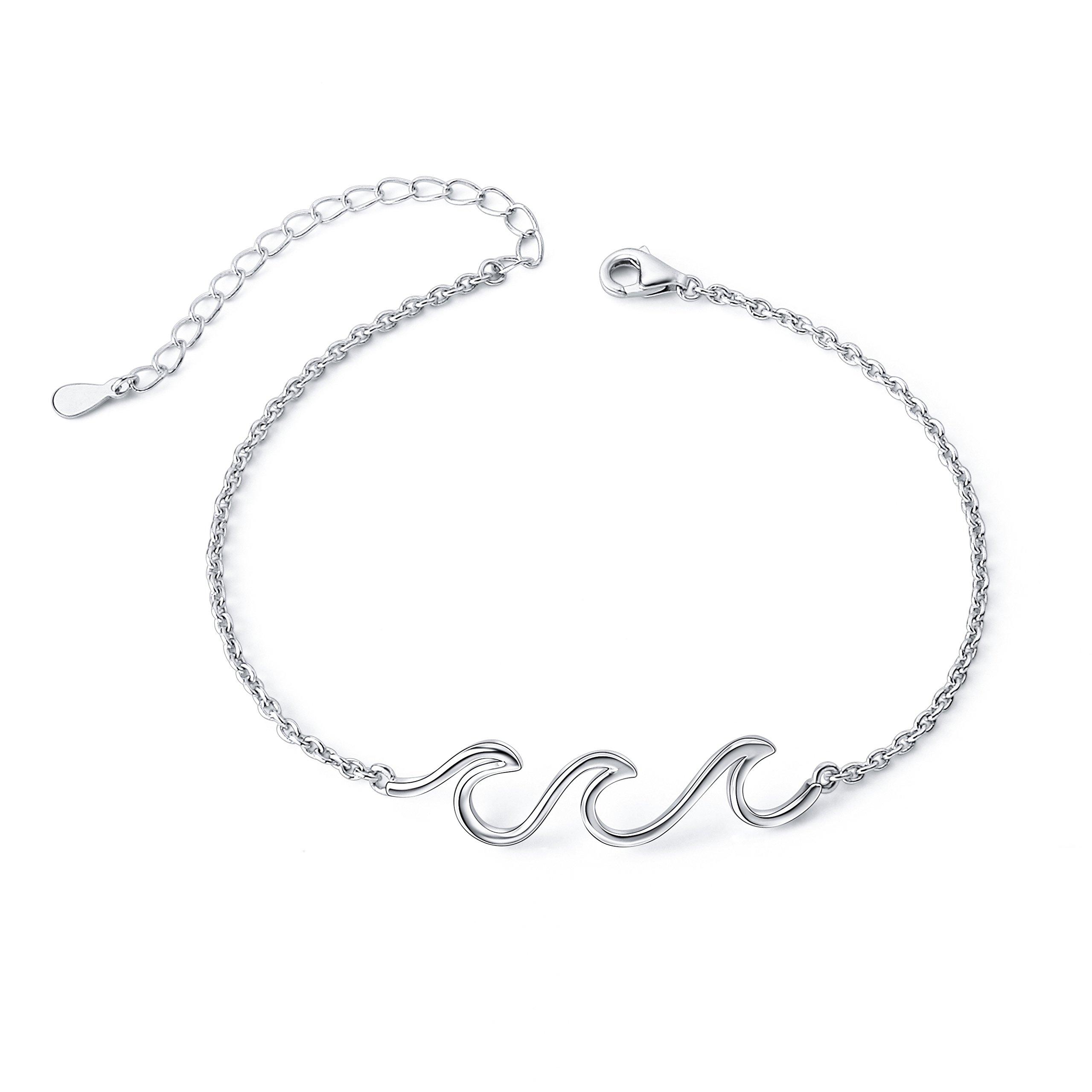 Wave Ocean Beach Sea Anklet for Women S925 Sterling Silver Adjustable Ankle Foot Bracelet 10 Inch