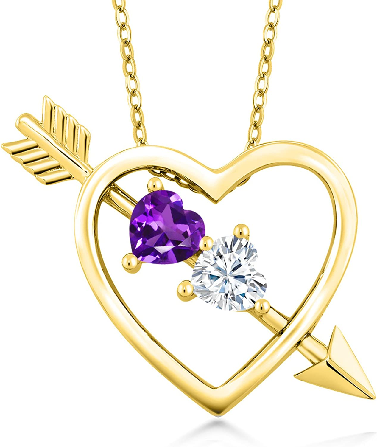 Created Moissanite by Charles /& Colvard and Amethyst 18K Yellow Gold Plated Silver Pendant Forever Brilliant DEW GHI Heart Shape 0.50ct