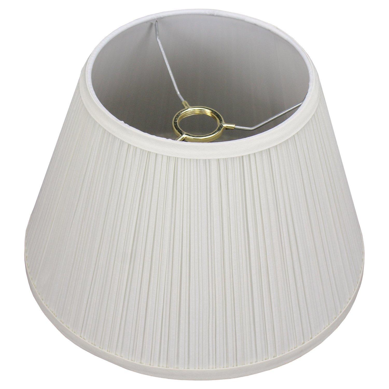 FenchelShades.com 7'' Top Diameter x 12'' Bottom Diameter x 8'' Slant Height Fabric Barrel Lampshade Threaded Uno Attachment (Pleated Cream)