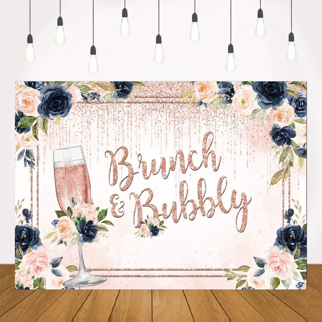 Lofaris Brunch and Bubbly Bridal Shower Backdrop Navy Blue and Blush Pink Floral Glitter Champagne Background Wedding Bachelorette Flower Party Decor Banner Supplies Photo Booth Prop Pictures 7x5ft
