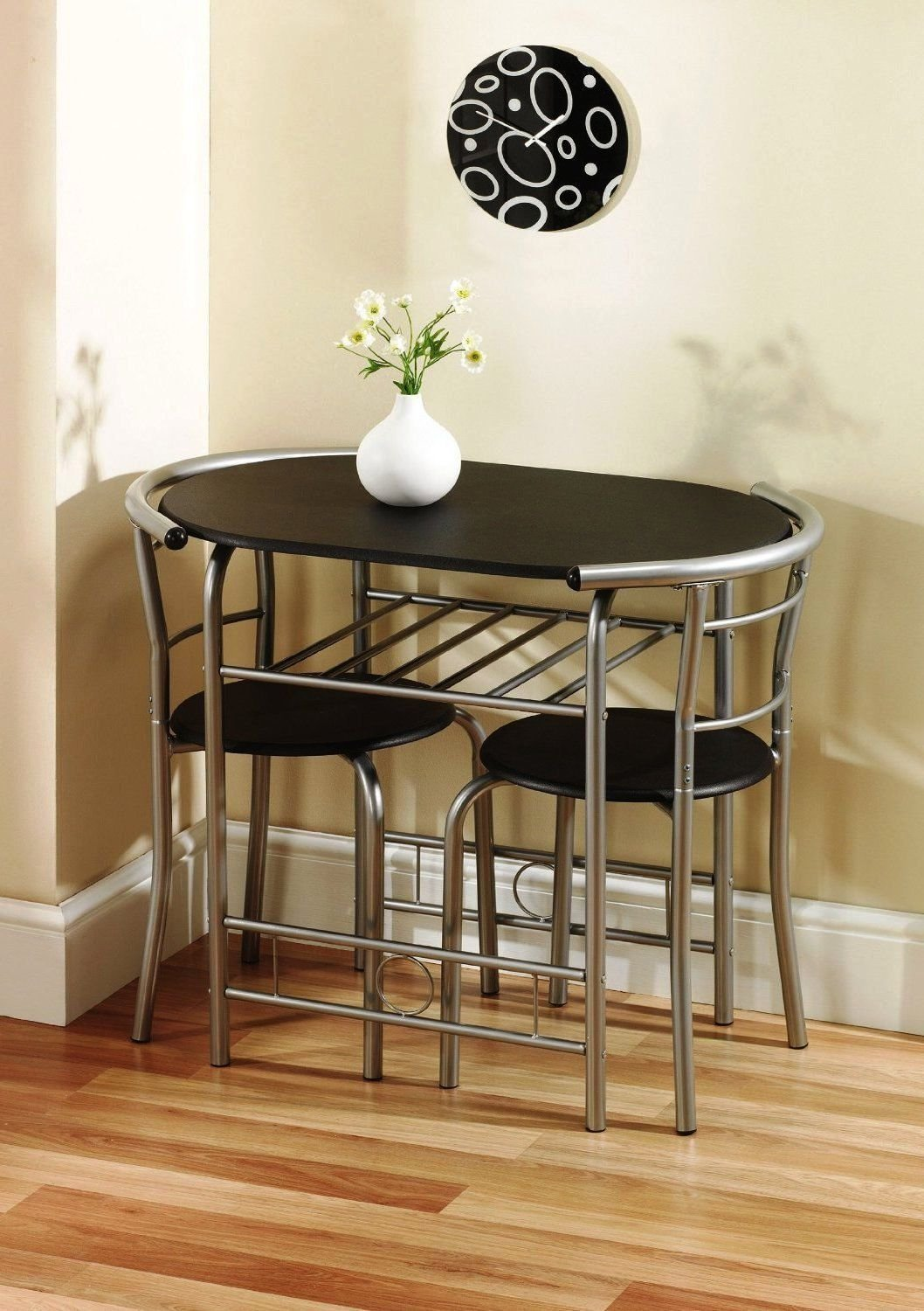 Amazon.com - Krasavic 3 Piece Kitchen Dining Table Set for 2 with Stack Chairs Wood Top Metal Finish Black/Silver - Table \u0026 Chair Sets : table and chair sets for kitchen - pezcame.com