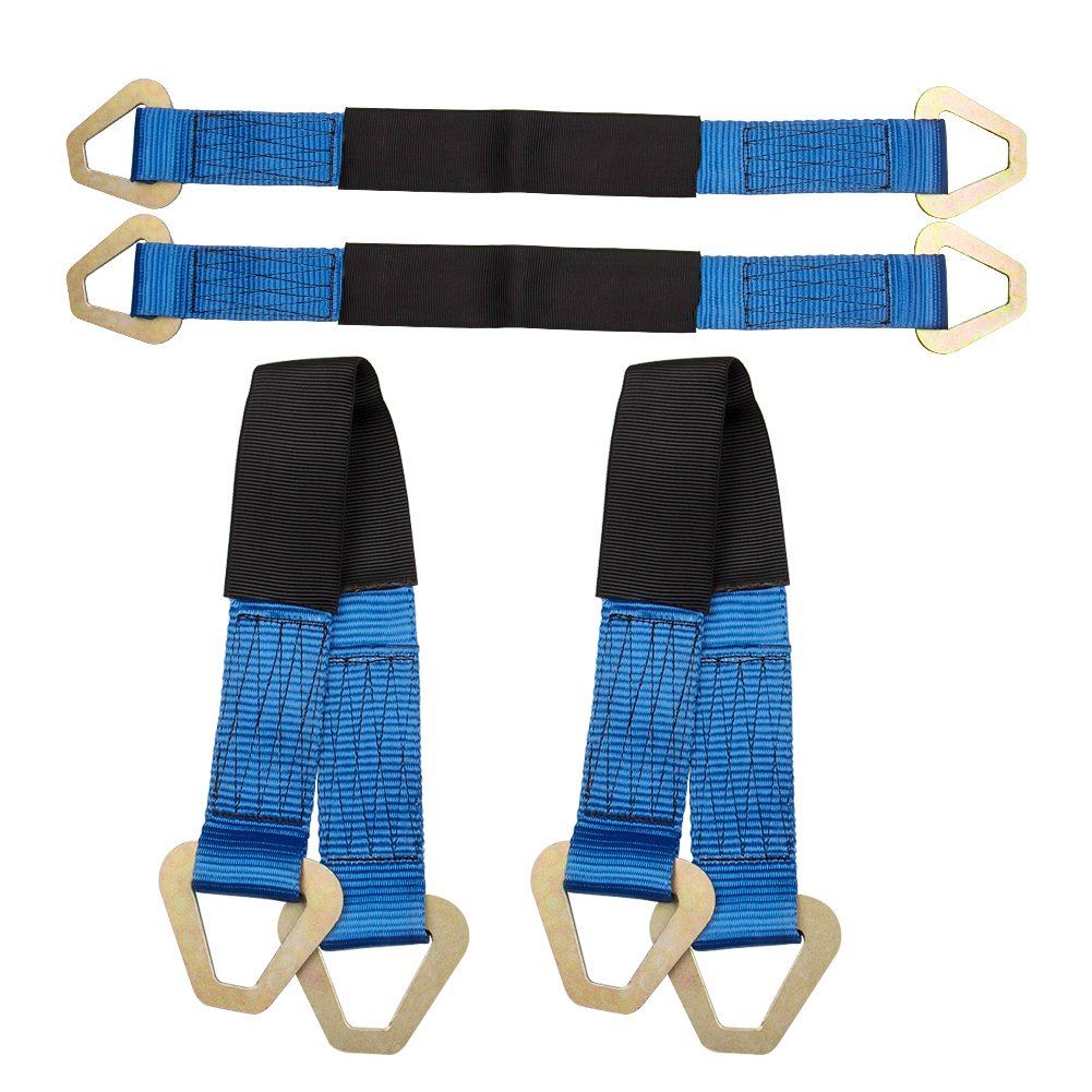 Heavy Duty Tow Rope Strap with Protective Sleeve & Shackles, 4pcs Tie Down 2' Wide 24' Long Axle Straps Towing Belts for Car Hauler Truck 4x4 Off Road, Up to 5.4 Tons, Blue Carbole