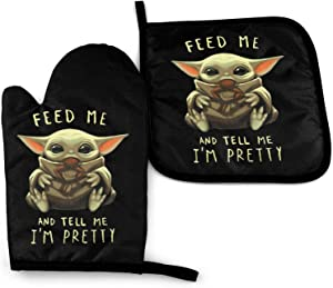 ETONKIDD Feed Me and Tell Me I'm Pretty Baby Yo-Da Oven Mitts and Pot Holders Sets Heat Resistant Kitchen Cooking Oven Gloves and Potholder Set