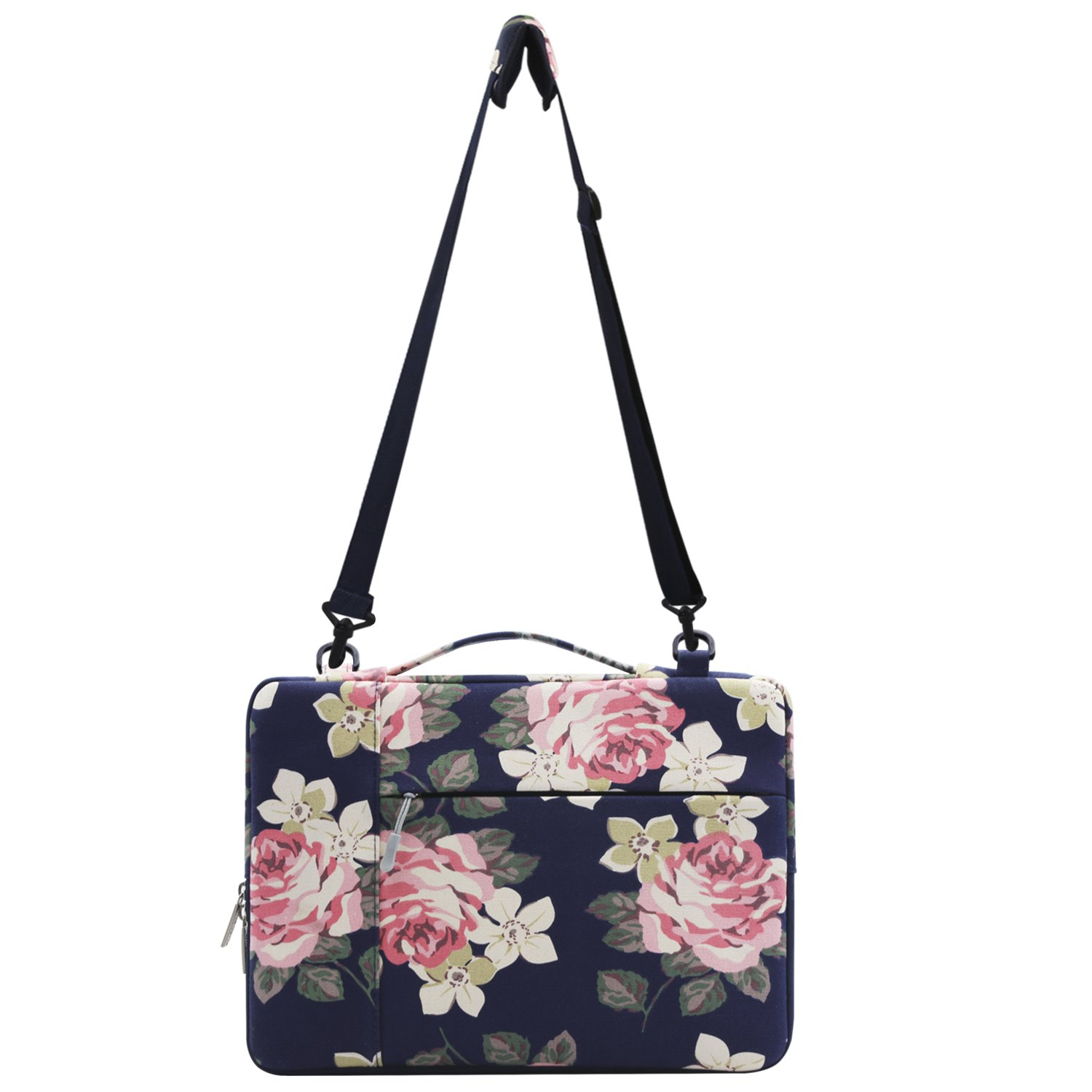 Mosiso Canvas Rose Multifunctional Laptop Shoulder Bag Case Sleeve for 15-15.6 Inch New 2017/2016 MacBook Pro with Touch Bar A1707, MacBook Pro, Notebook, Compatible with 14 Inch Ultrabook, Dark Blue