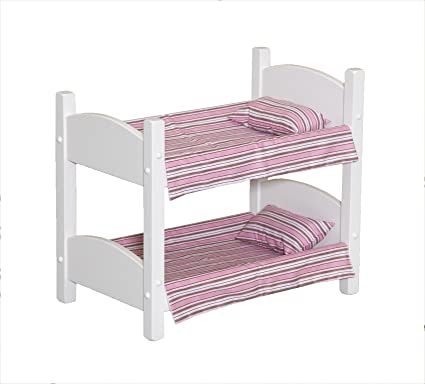 Amazon Com Amish Made Wooden White Doll Bunk Bed For 18 Dolls