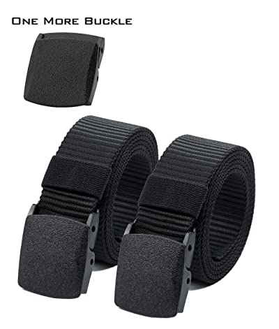 Nylon Canvas Breathable Military Tactical Men Waist Belt with Plastic Buckle 51 inch