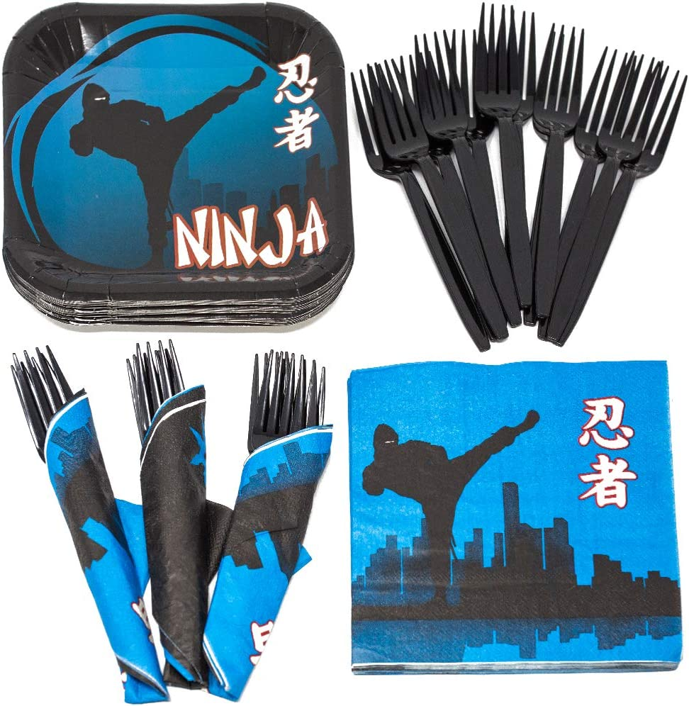 Ninja Value Party Supplies Pack (58+ Pieces for 16 Guests), Value Party Kit, Ninja Party Plates, Ninja Birthday, Napkins, Forks, Tableware