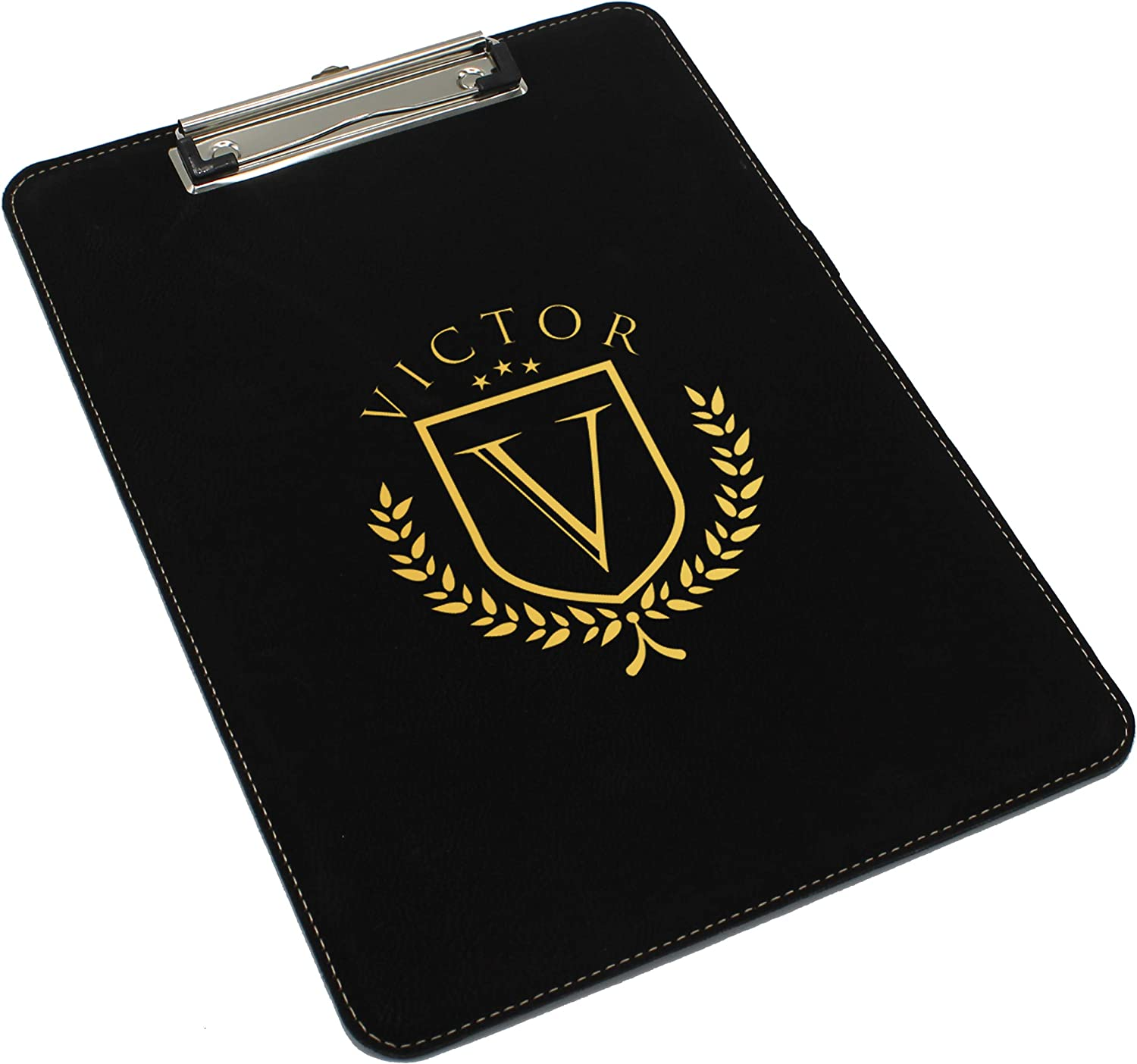 Custom Engraved Clipboard, Paper Holder - Personalized Office Gift for Coaches, Teachers, Medical Student, Doctors, Nurses (Black with Gold)