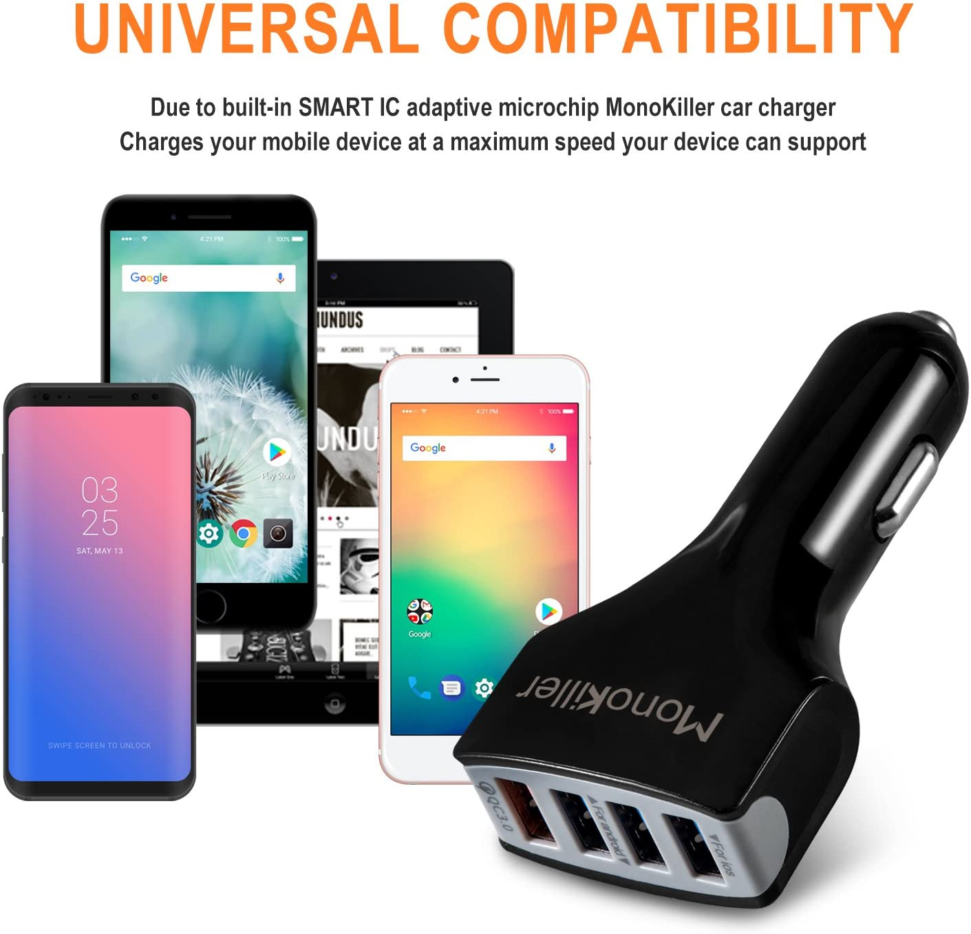 Monokiller Quick Charge 3.0 Car Charger USB iPhone Car Adapter Cell Phone Car Charger 4A Smart IC 3 USB Car Charger Adapter for any iOS or Android Devices: iPhone X//6//6S//8// 8Plus//7//7S//7Plus//5//5S//SE//4 Samsung Galaxy S8//S7// S6//S5 Edge HTC LG and More