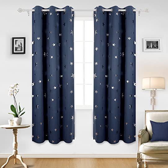 Deconovo Solid Thermal Insulated Blackout Curtains For Bedroom With Silver  Star Pattern 52 By 63 Inch