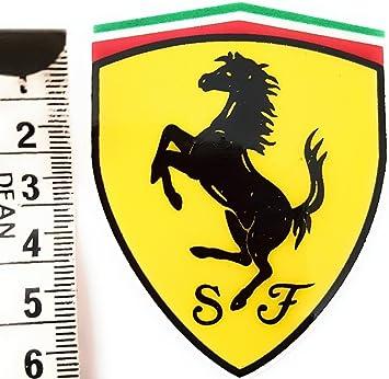 X 2 Ferrari Prancing Horse Aufkleber Aufkleber 65mm X 50mm Hochglanz Domed Gel Finish Amazon De Auto