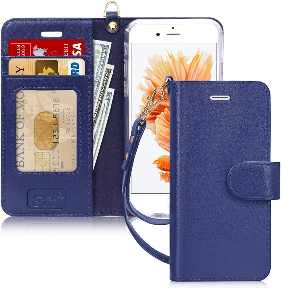 FYY Luxury Genuine Leather Wallet Case for iPhone 6/6s, [Kickstand Feature] Flip Phone Case Protective Shockproof Folio Cover with [Card Holder] [Wrist Strap] for Apple iPhone 6/6s 4.7